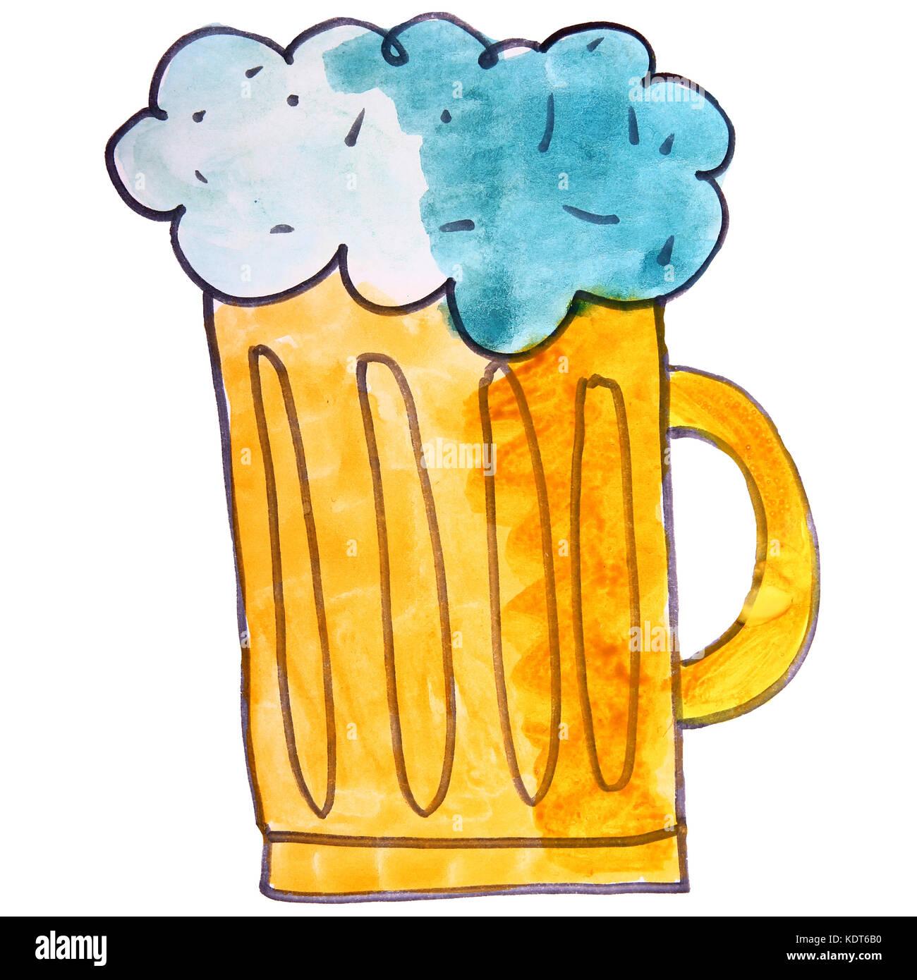 I Bambini Di Disegno Ad Acquerello Boccale Di Birra Cartoon Su Un