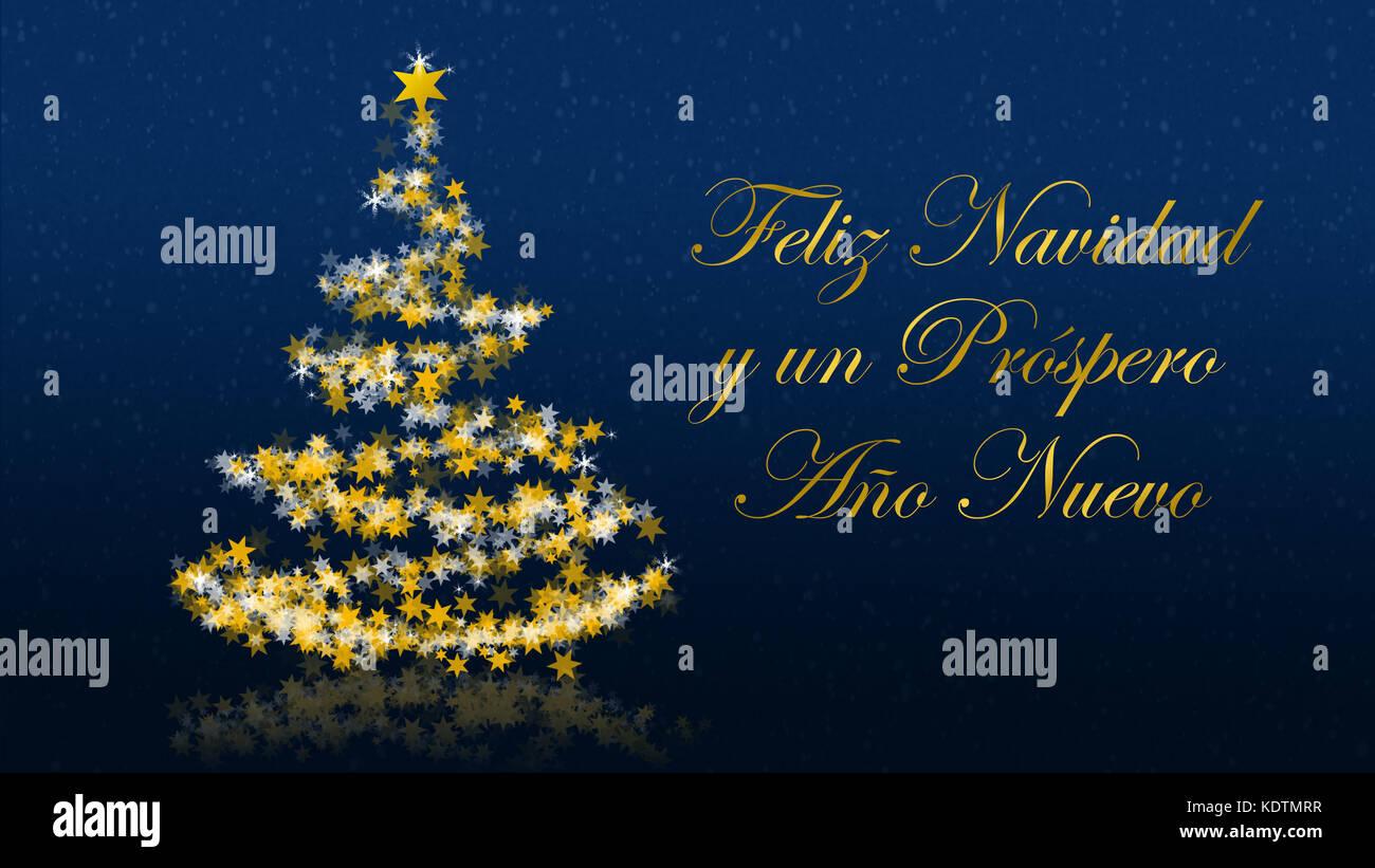 Buon Natale In Spagnolo.Albero Di Natale Con Stelle Scintillanti Su Sfondo Blu Con I Migliori Auguri Di Buon Natale Versione Spagnola Parte Di Una Serie Multilingue Foto Stock Alamy