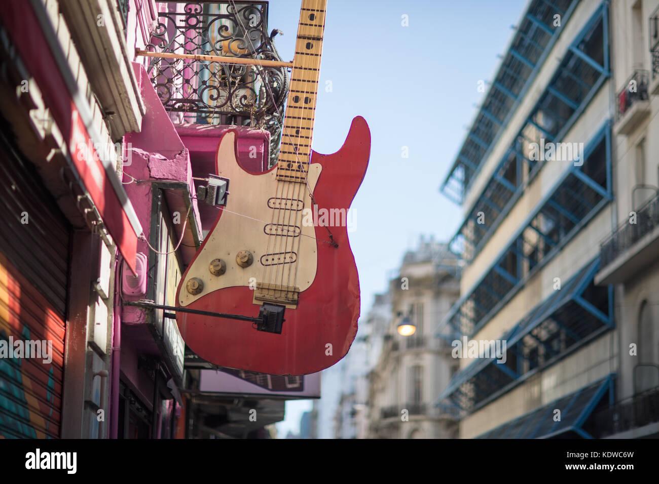 Negozio di chitarra, Talcalhuano, Buenos Aires, Argentina Immagini Stock