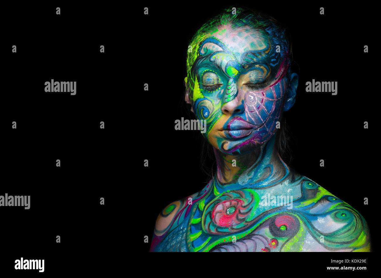 Bella arte del corpo - volto artistico (vista frontale) Immagini Stock