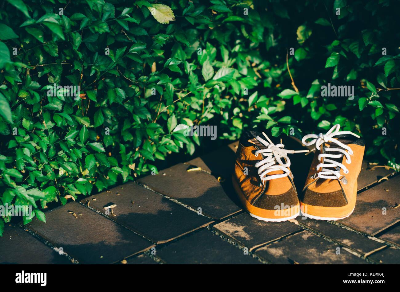 614d27ef670bff i-bambini-le-scarpe-marrone-su-un-pavimento-con -foglie-background-nella-soleggiata-sera-tonica-foto-indossare-le-scarpe-marrone-giorno-kdxk4j.jpg