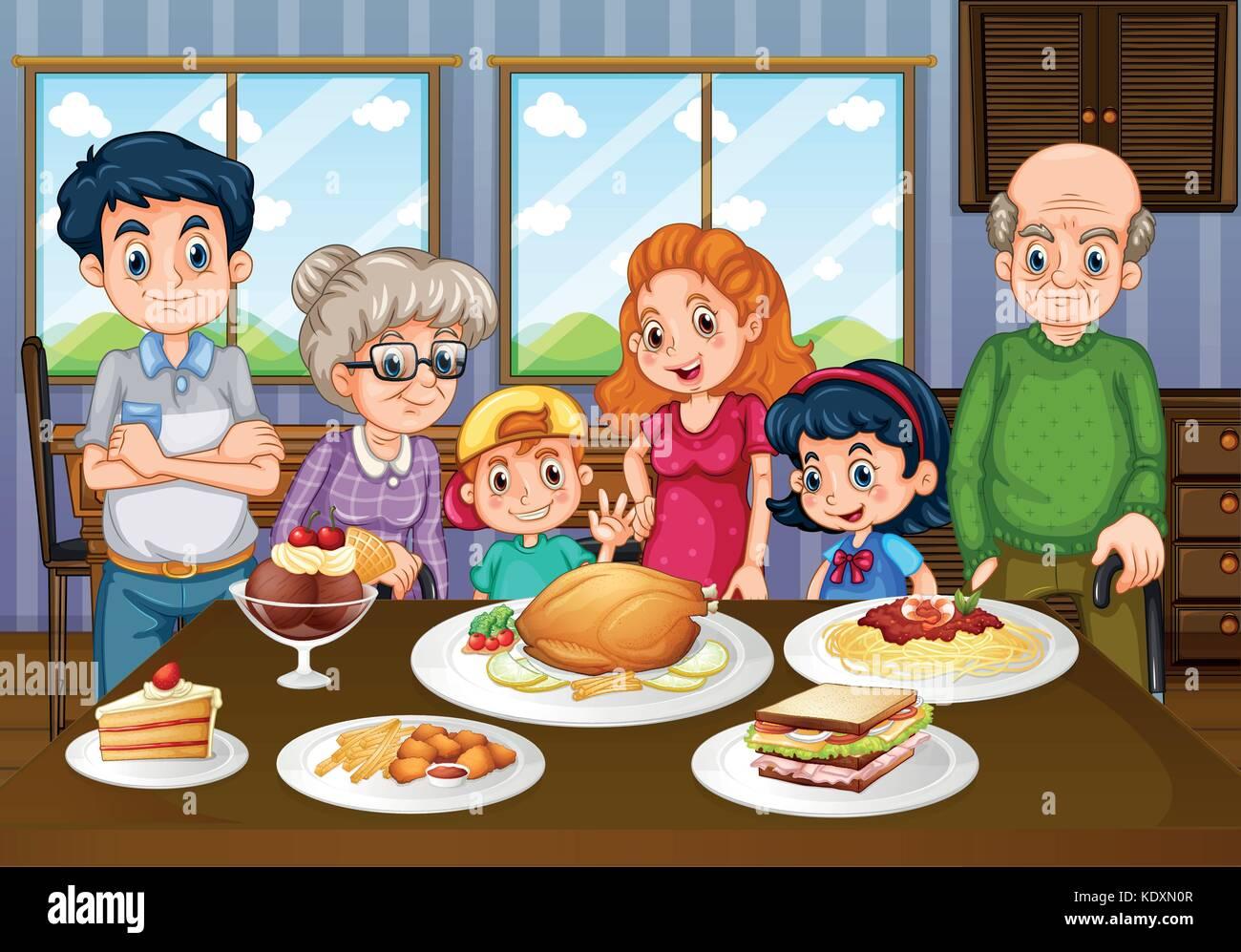 Famiglia Avente Pasto Insieme Nella Sala Da Pranzo Illustrazione Immagine E Vettoriale Alamy