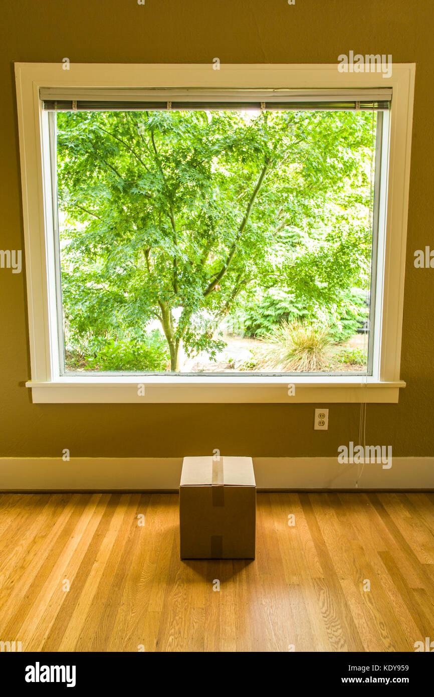 Una piccola scatola di cartone al di sotto di una grande finestra in una casa residenziale. Immagini Stock
