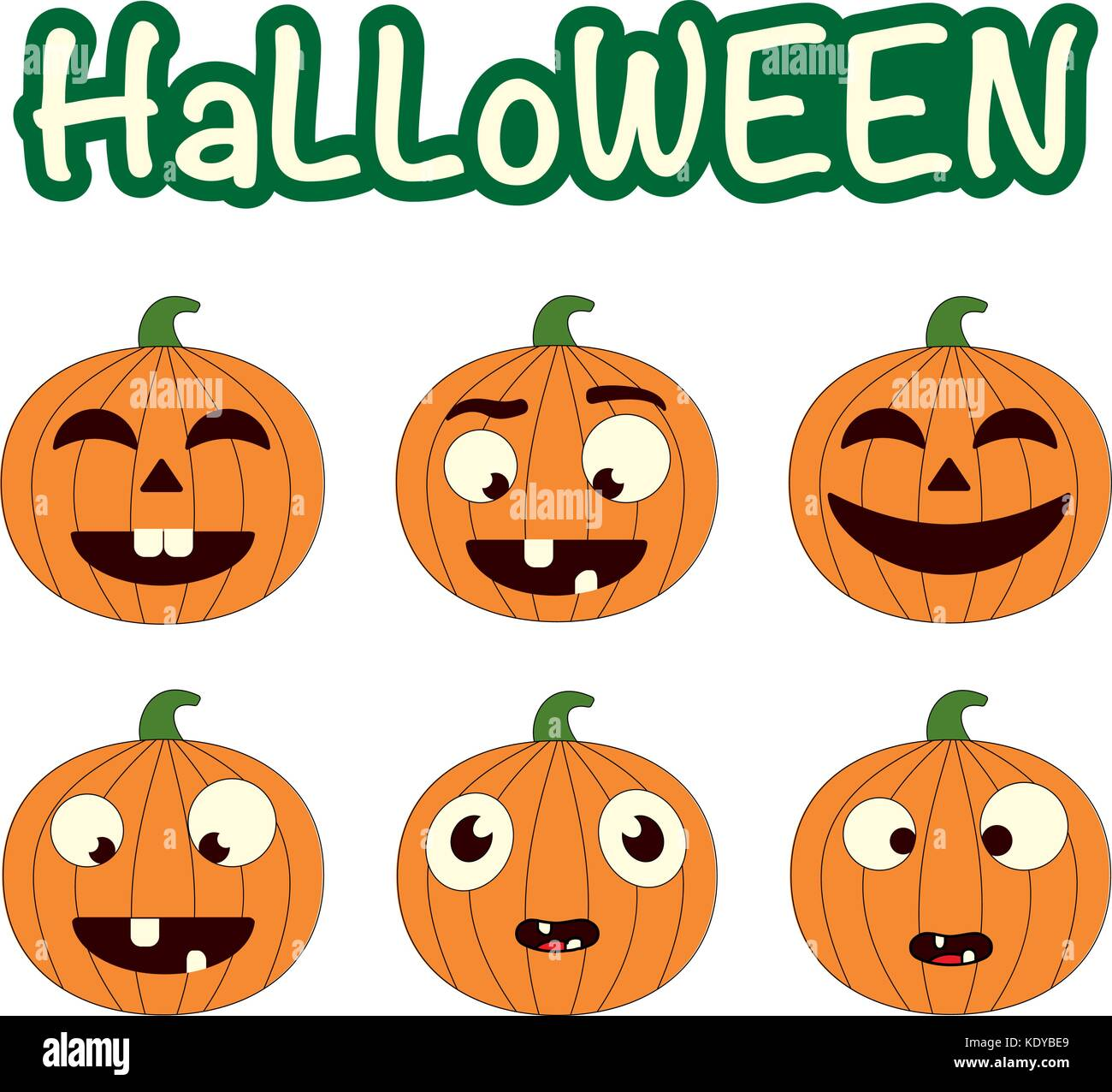 Zucche Di Halloween Cartoni Animati.Vettore Di Carino Impostato Con Zucche Di Halloween Sorridente E