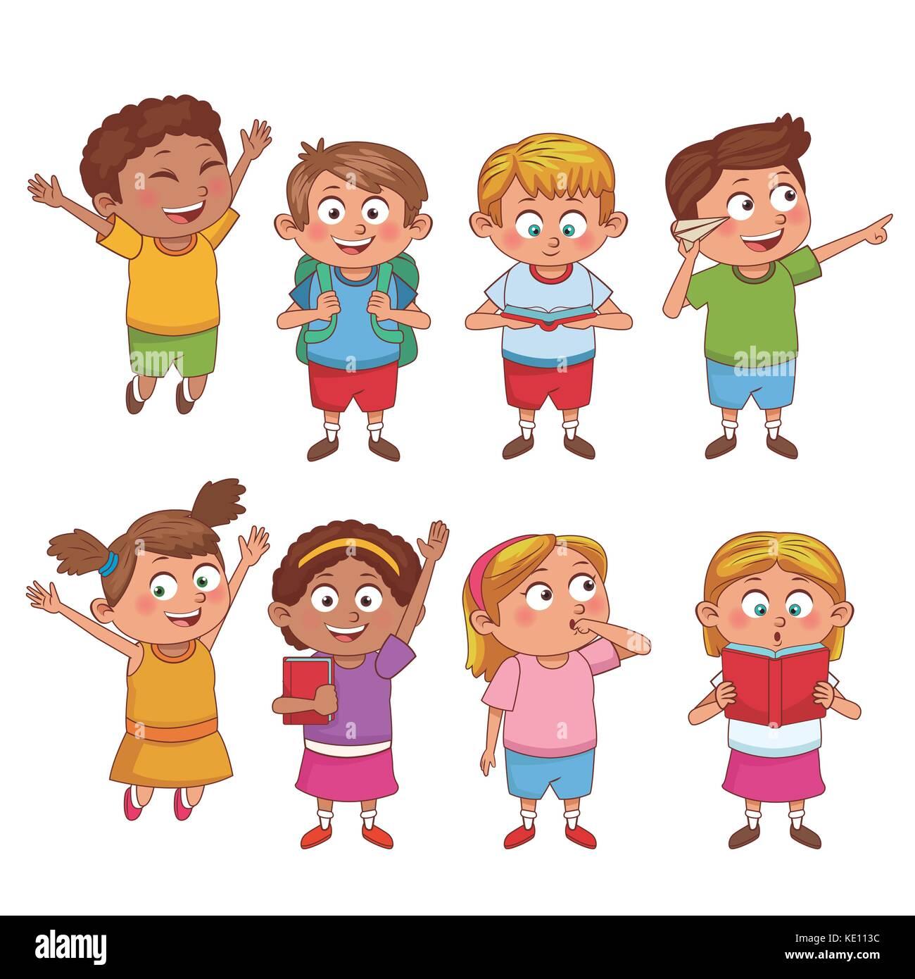 Gli Studenti Di Cartoni Animati Per Bambini Illustrazione Vettoriale