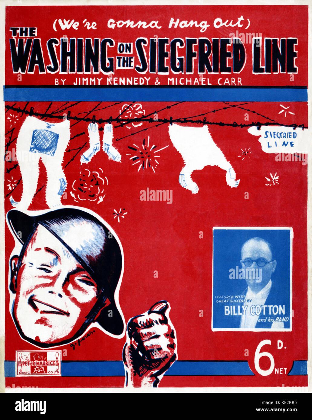 (Stiamo andando appendere fuori) il lavaggio sulla linea di Siegfried - Punteggio coperchio, 1939 con ritratto di Immagini Stock