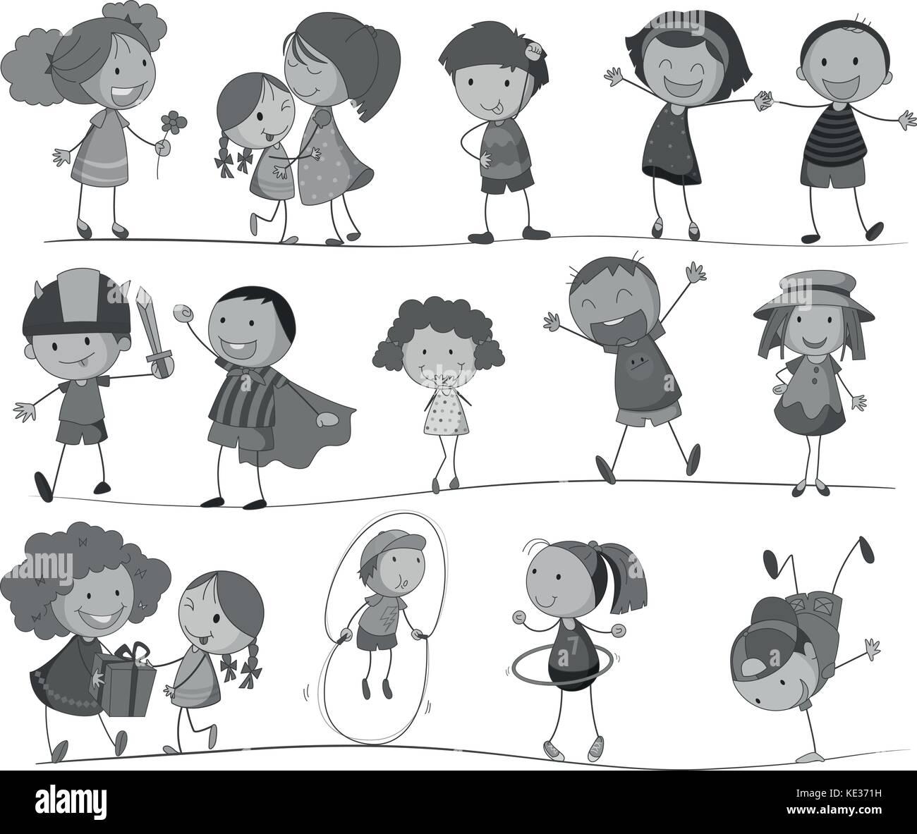 Set di bambini in bianco e nero illustrazione Immagini Stock