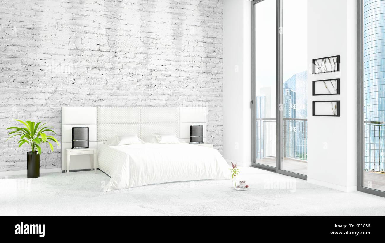 Camera Da Letto Stile Minimalista : Nuovissimo loft bianco camera da letto stile minimal design interno