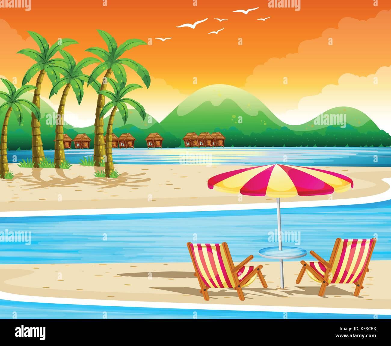 Disegni Di Spiaggia E Ombrelloni.Scena Di Spiaggia Con Sdraio E Ombrellone Illustrazione