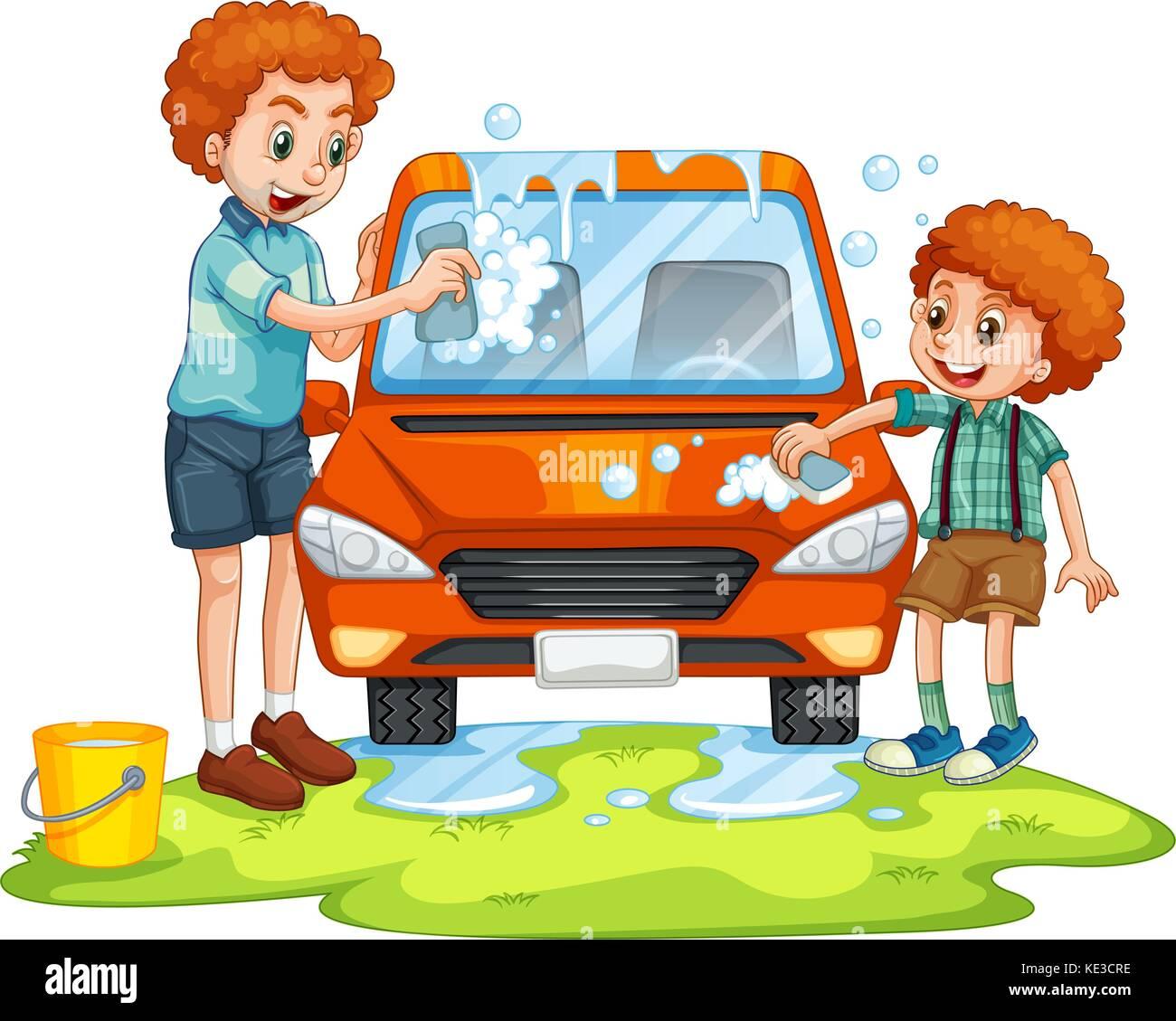 Padre e figlio auto lavaggio illustrazione Illustrazione