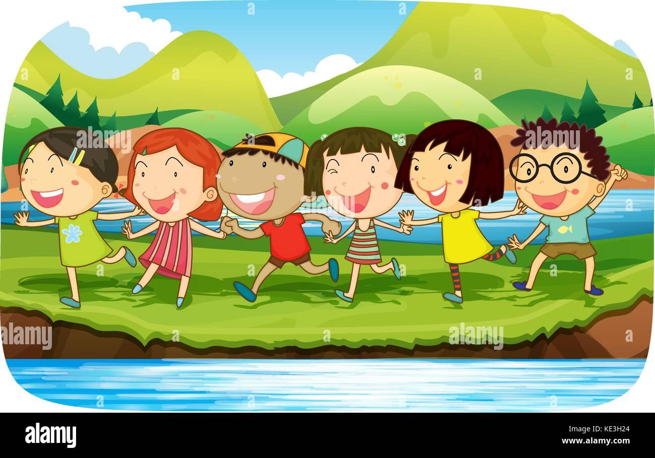 Bambini Che Giocano Nella Natura Illustrazione Illustrazione