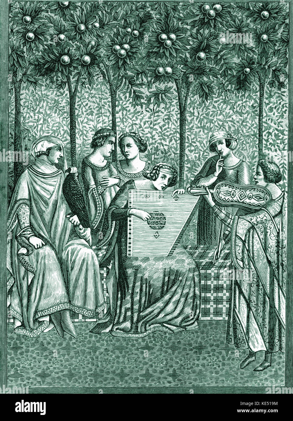 """Vielle e il salterio - svolto dalle donne medievale. dalla pittura murale di """"Trionfo della morte"""" dall'Orcagna. Foto Stock"""