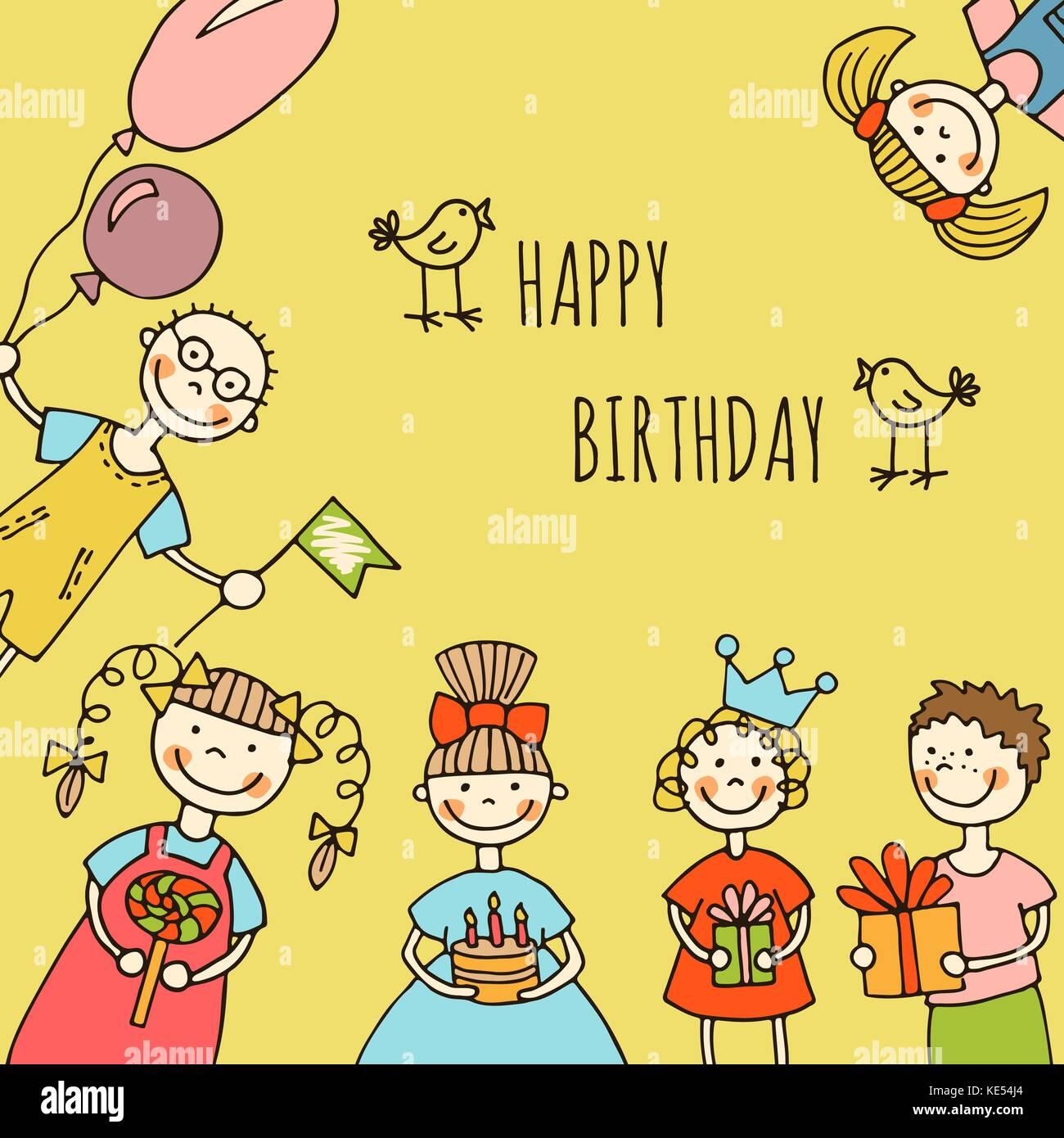 Buon Compleanno Bambini Biglietto Di Auguri Illustrazione Vettoriale
