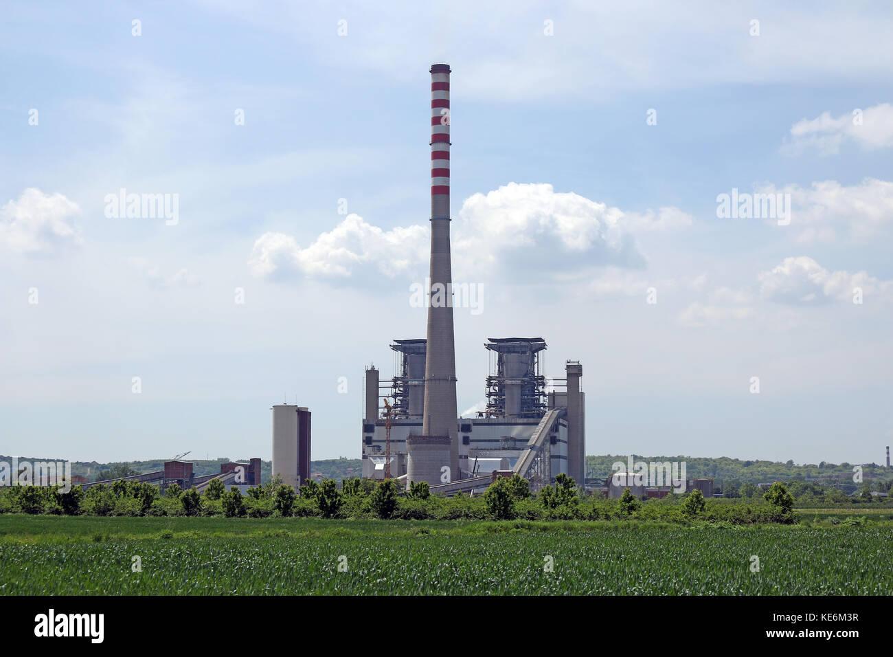 Centrale termoelettrica di potenza e energia industria Immagini Stock