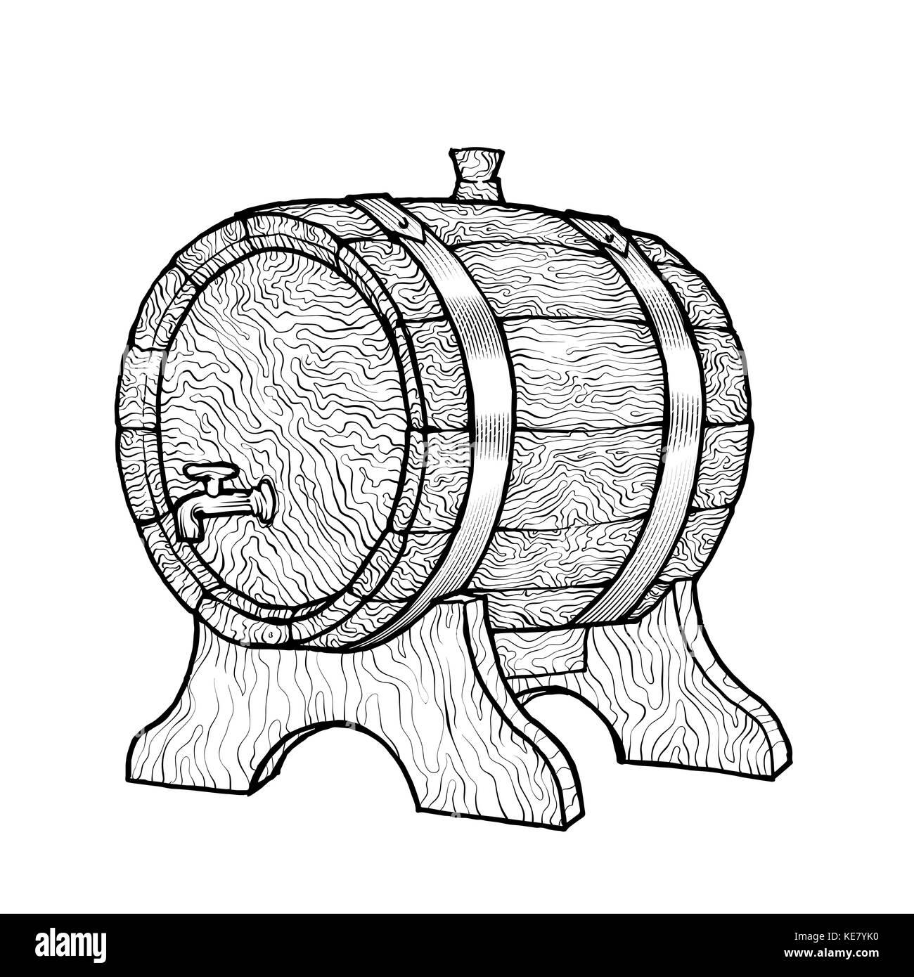 Disegno Di Un Rubinetto.Disegno Vettoriale Illustrazione Di Un Vino In Legno Canna Con Il Rubinetto In Stile Vintage Con Piedistallo Disegnati A Mano A Trama Logo Kilderkin Immagine E Vettoriale Alamy