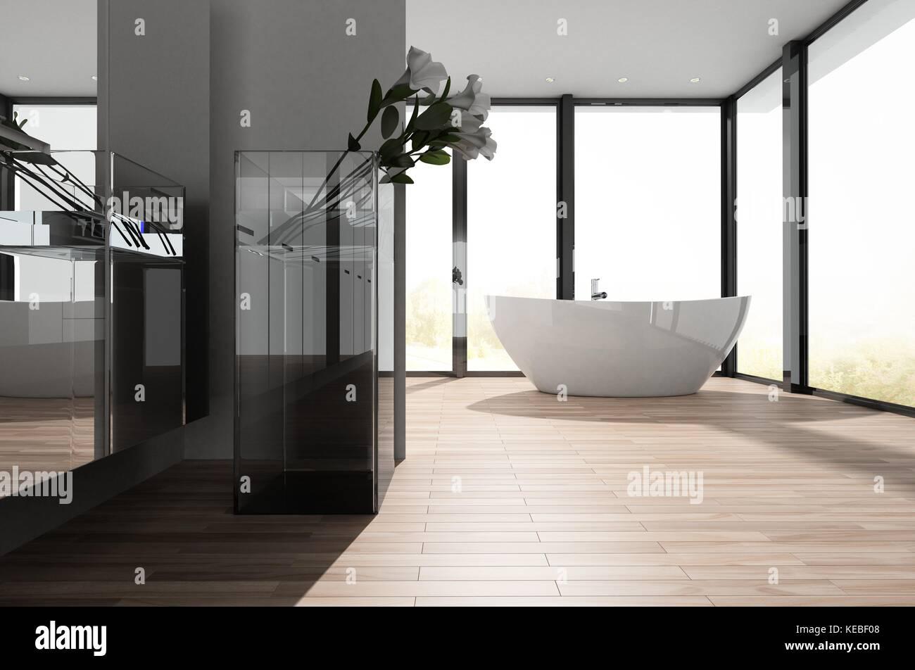 Sala Da Bagno Moderna : Grande e spaziosa stanza da bagno molto moderna con un freestanding