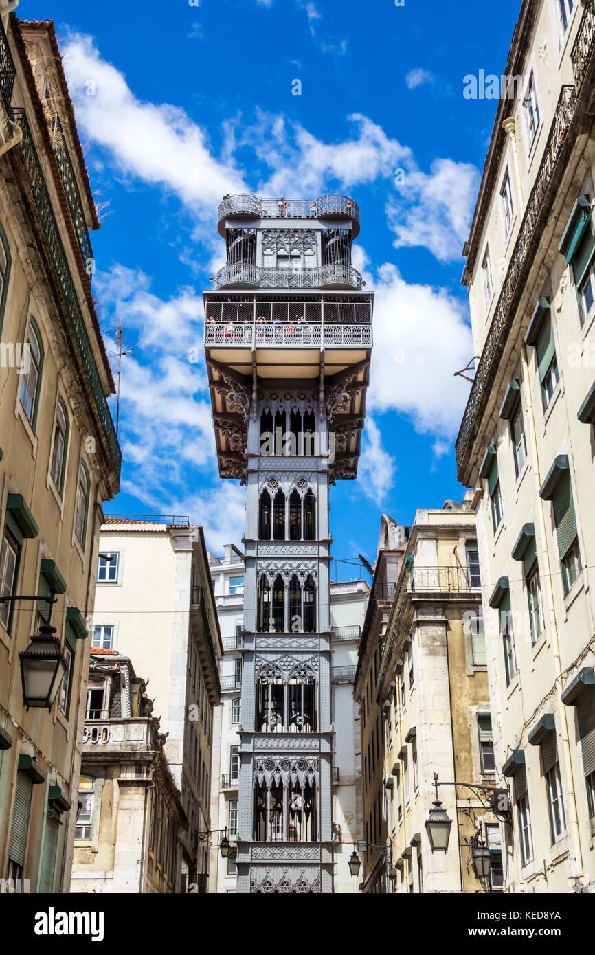 Lisbona portogallo Baixa Elevador de Santa Justa Elevator sollevare Carmo attrazione turistica Immagini Stock