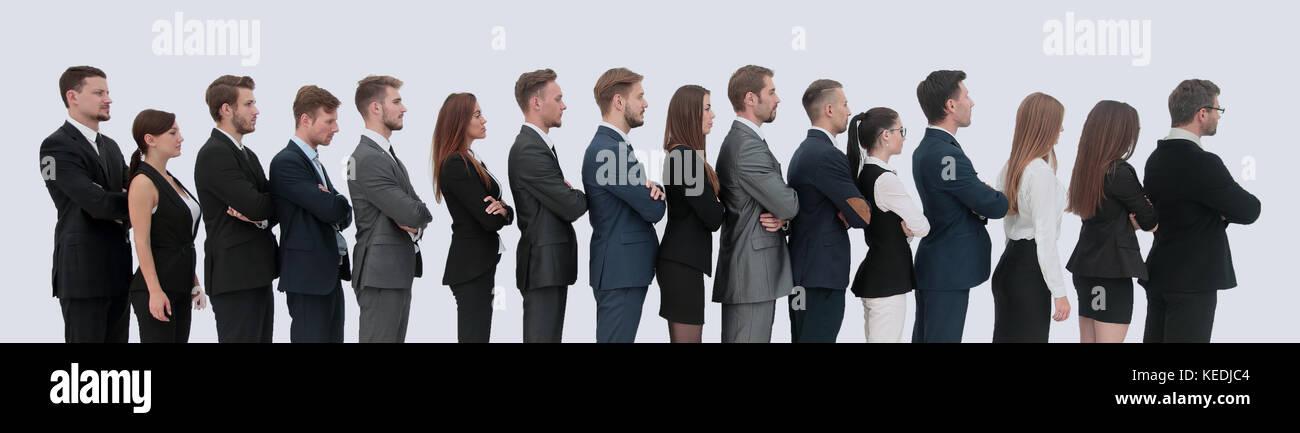 Profilo di un team aziendale in una singola linea contro uno sfondo bianco Immagini Stock