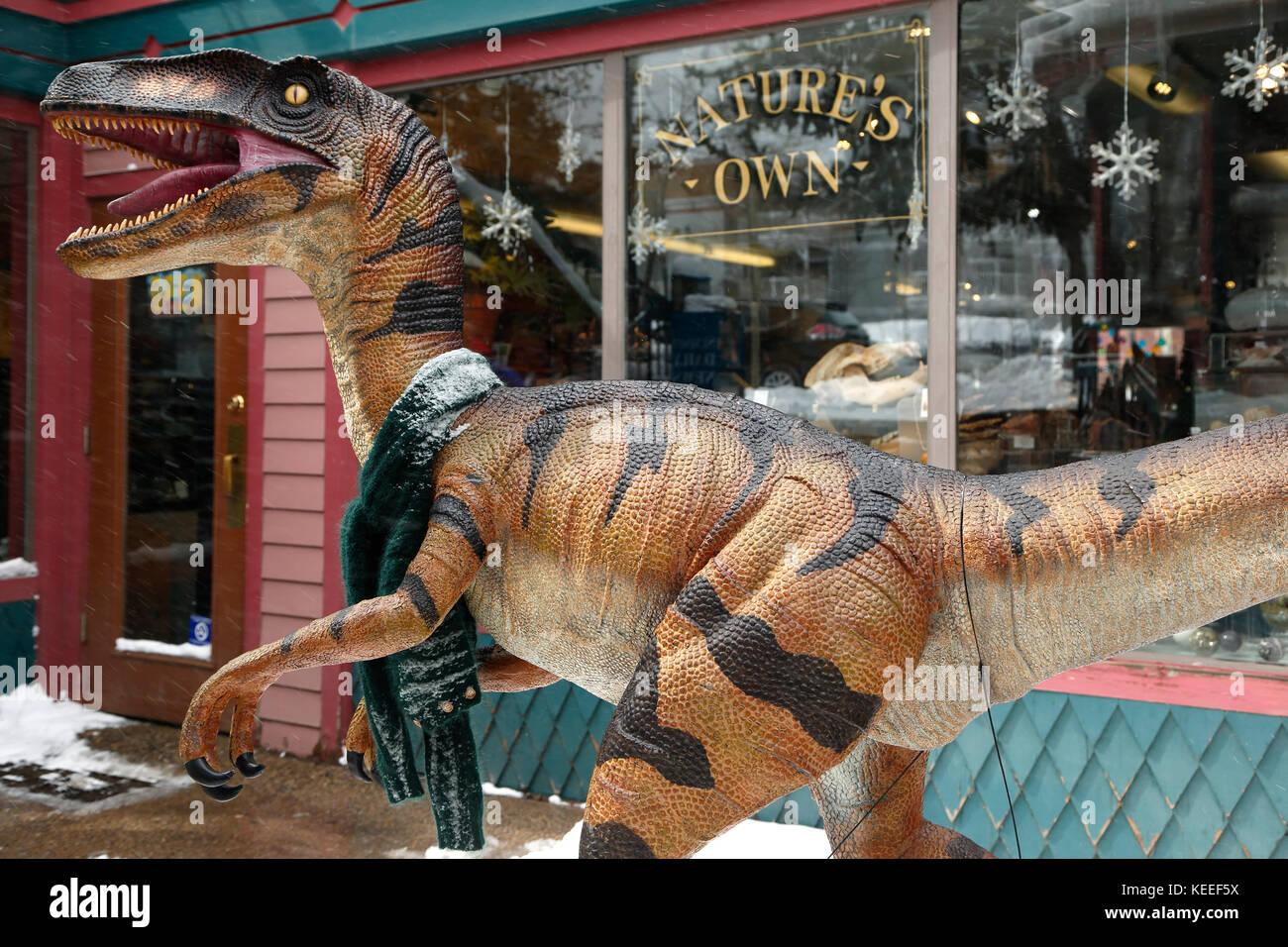 Riproduzione di dinosauri, propri della natura (fossili e minerali) negozio, Breckenridge, Colorado, Stati Uniti Immagini Stock