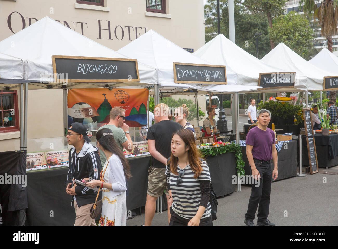 Venerdì buongustai mercato a rocce nel centro di Sydney, Australia Immagini Stock