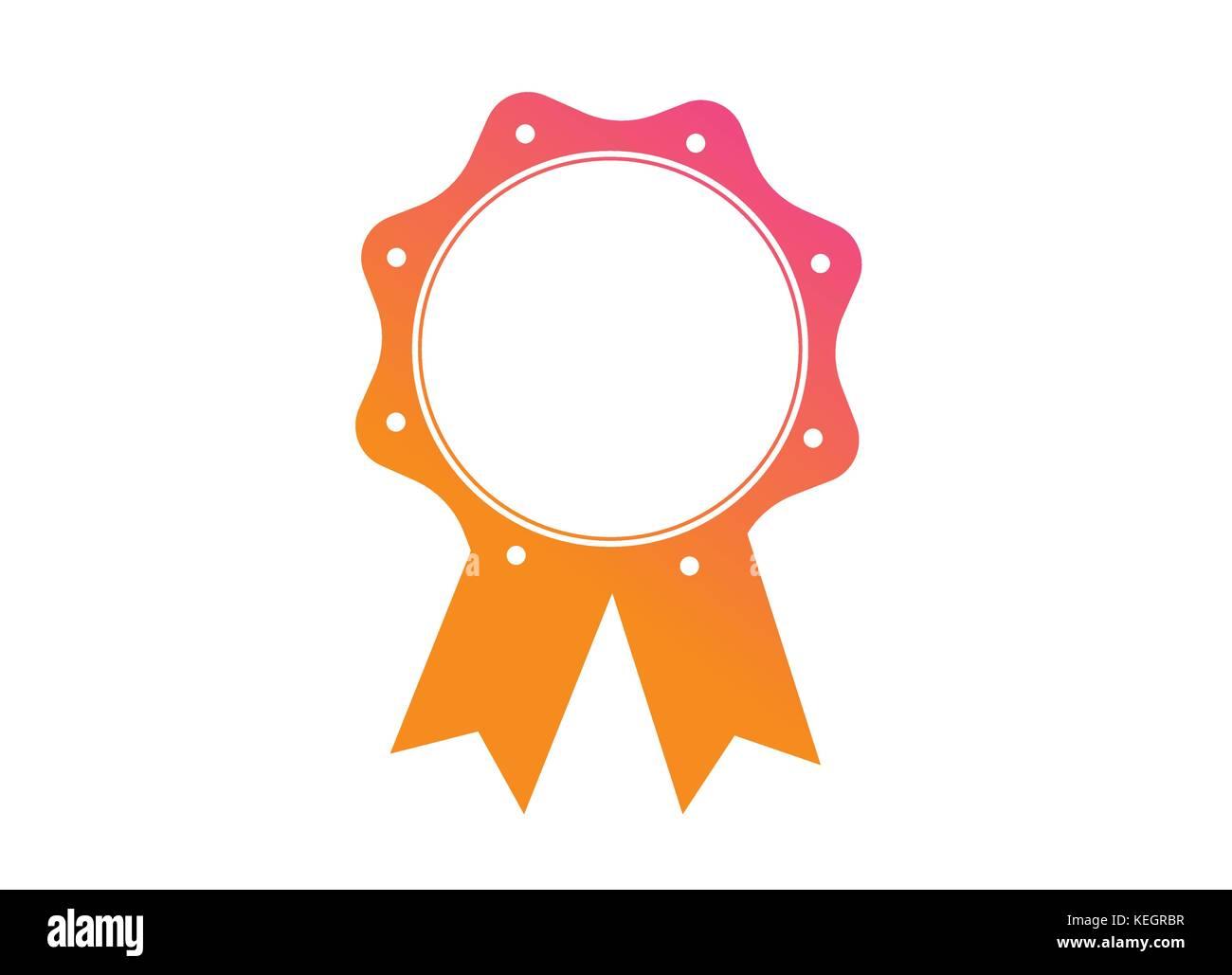 Il Vettore Gradiente Di Colore Arancione Rosa Medaglia Premio Badge A Nastro