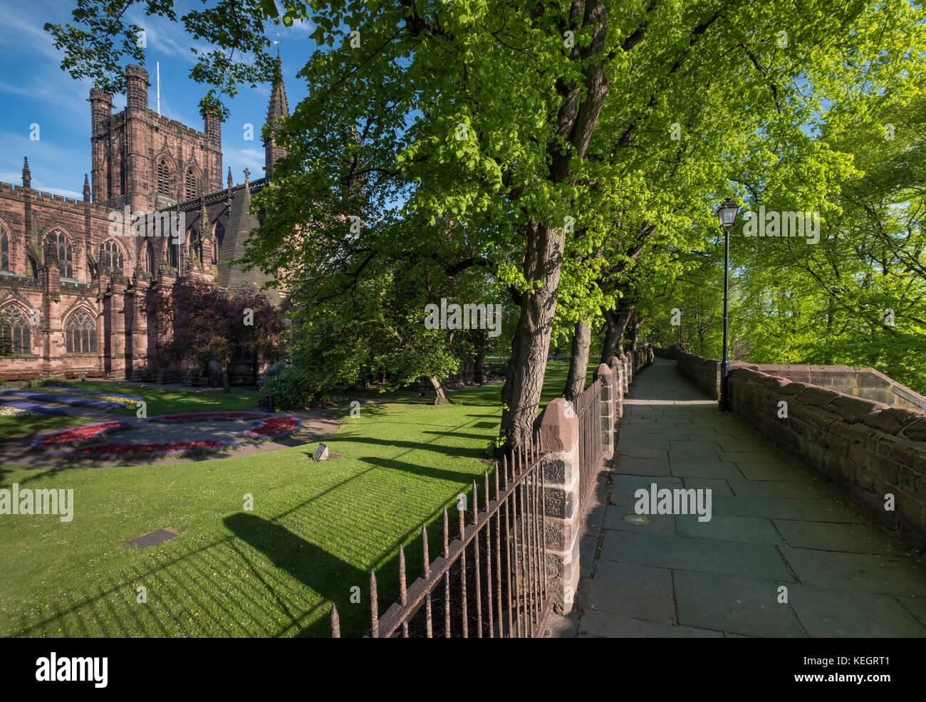 Chester Cathedral e le mura della città di Chester, Cheshire, Inghilterra, Regno Unito Immagini Stock