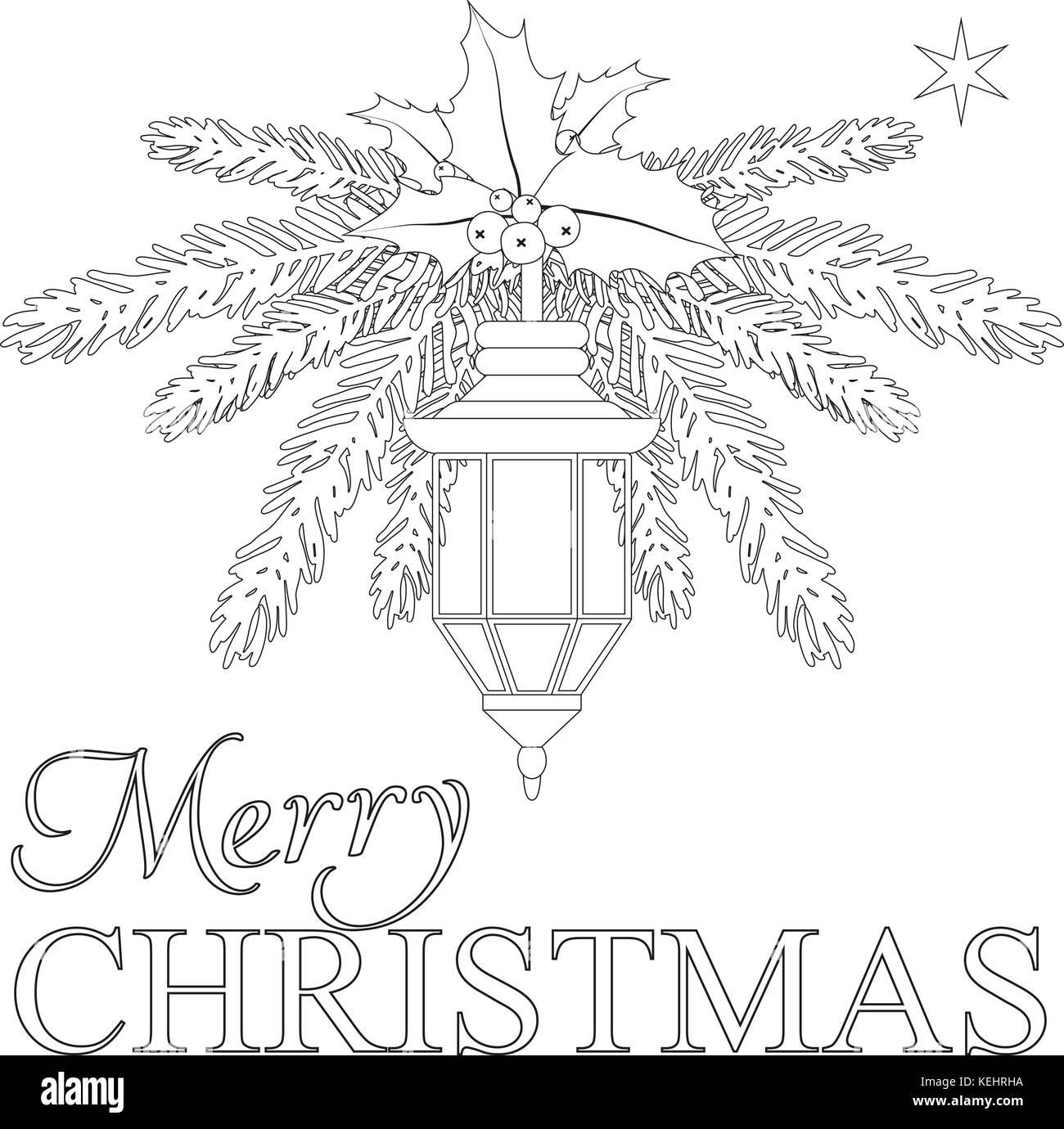 Merry Christmas Poster Con Lonely Star Street Lanterna E