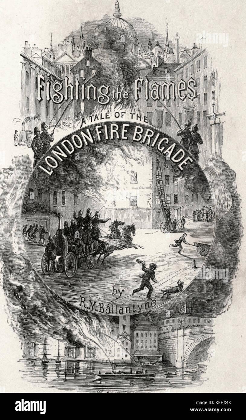 Lotta contro le fiamme - un racconto del London Vigili del Fuoco Pagina Titolo Immagini Stock