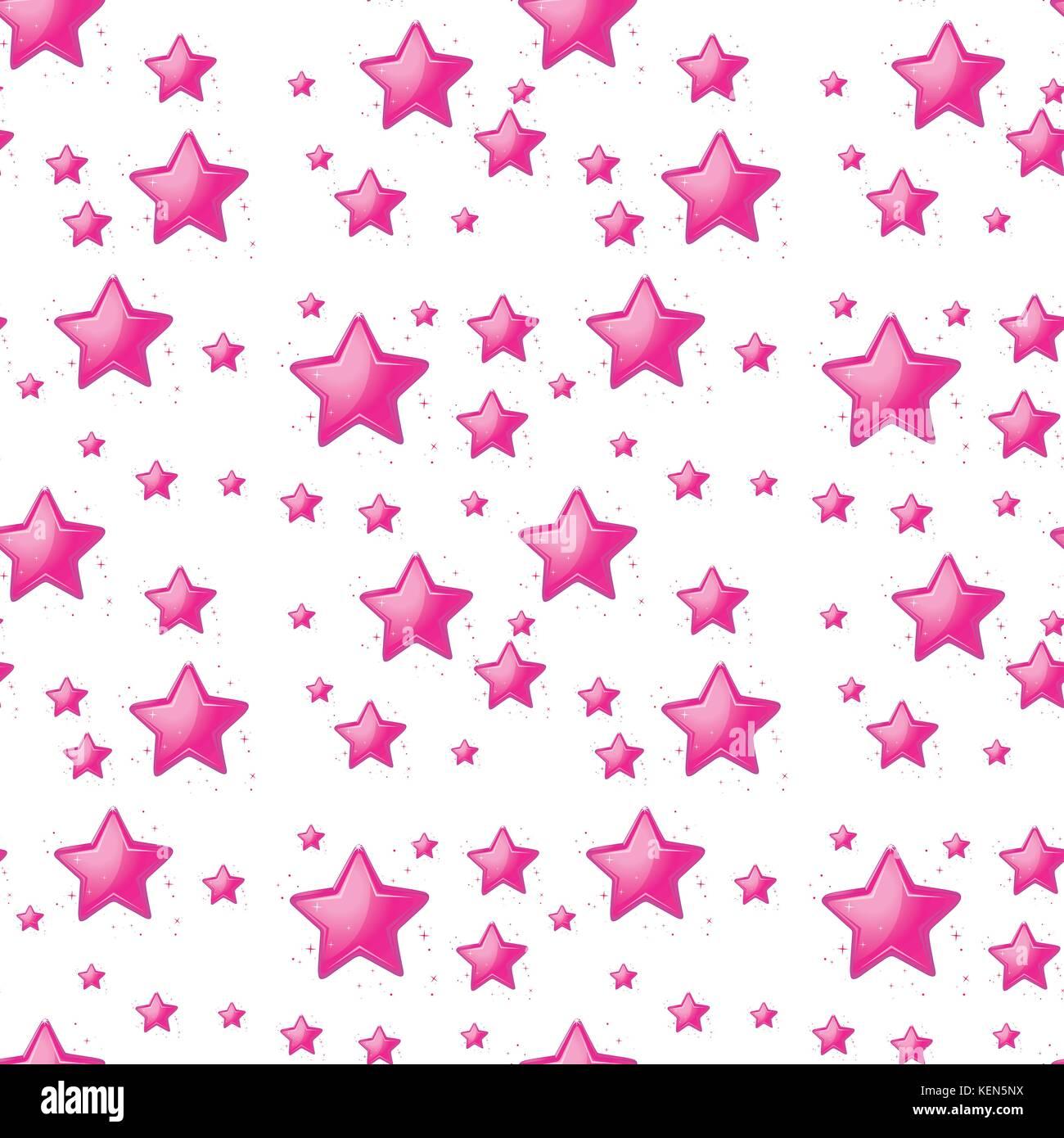 Illustrazione Del Design Lineare Con Stelle Rosa Su Sfondo Bianco
