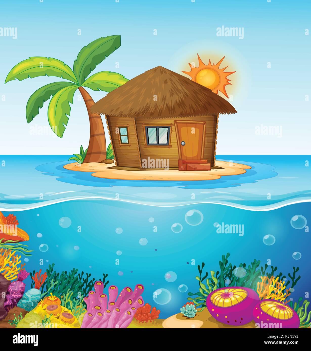 Illustrazione di una casa su un isola deserta illustrazione