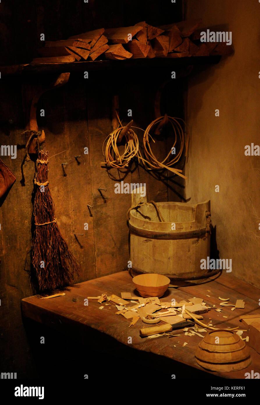 La Svezia. medioevo. interno del jöns workshop, produttore di articoli di vetro, situato a sud della città. Immagini Stock