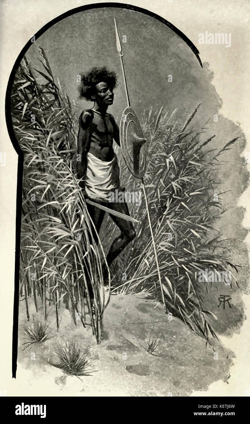 Un Abyssian Scout, circa 1880 Immagini Stock