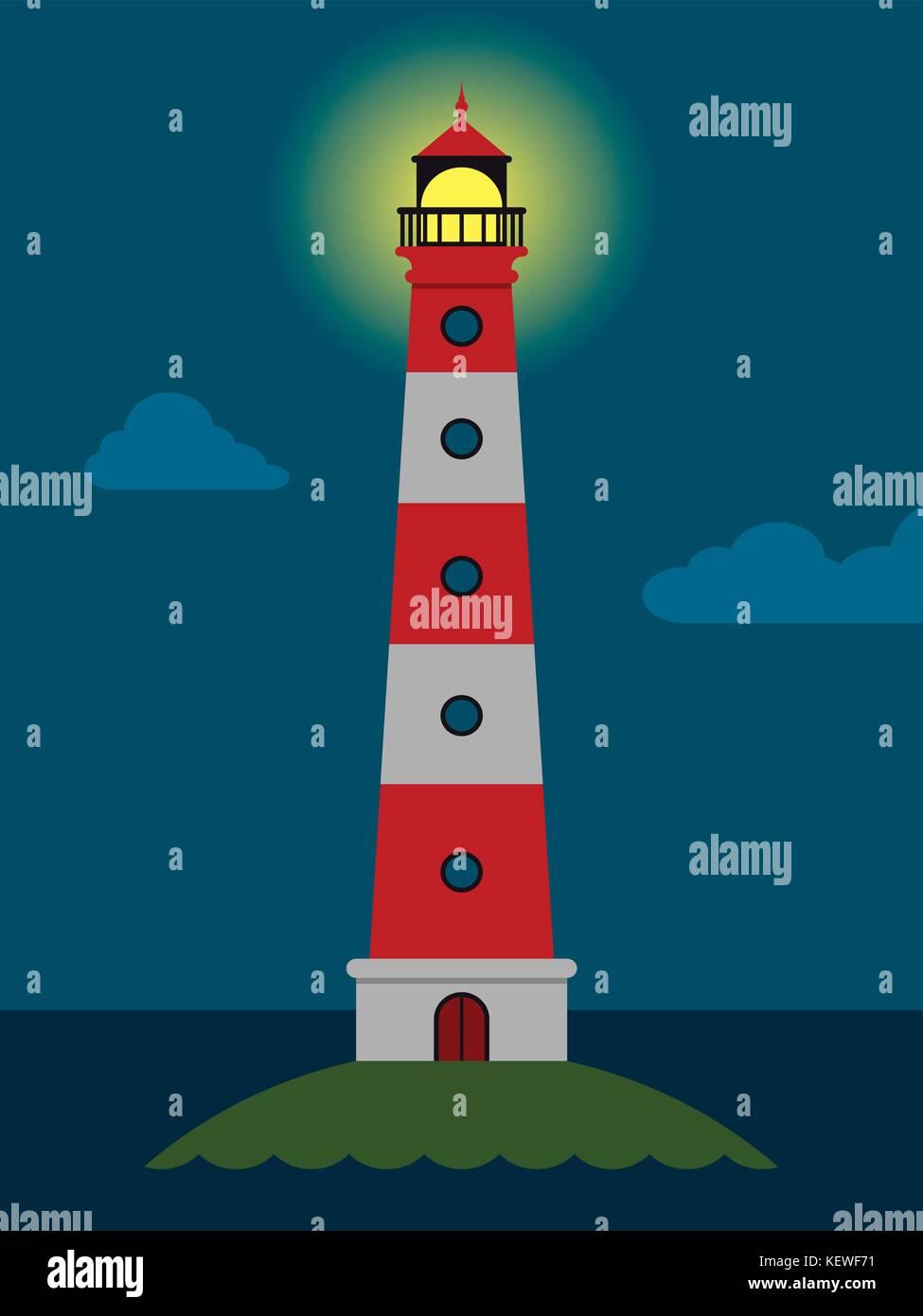 Sfondo Vettoriale Con Faro Il Mare Le Onde Di Una Notte Torre