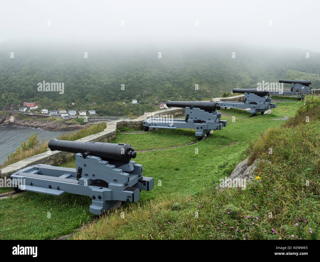 32-pounder armi lunghe, Signal Hill National Historic Site, San Giovanni, Terranova, Canada. Immagini Stock