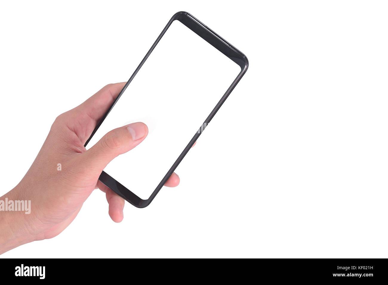 Mano Che Tiene Il Telefono Cellulare E Utilizzando Toccando Schermo