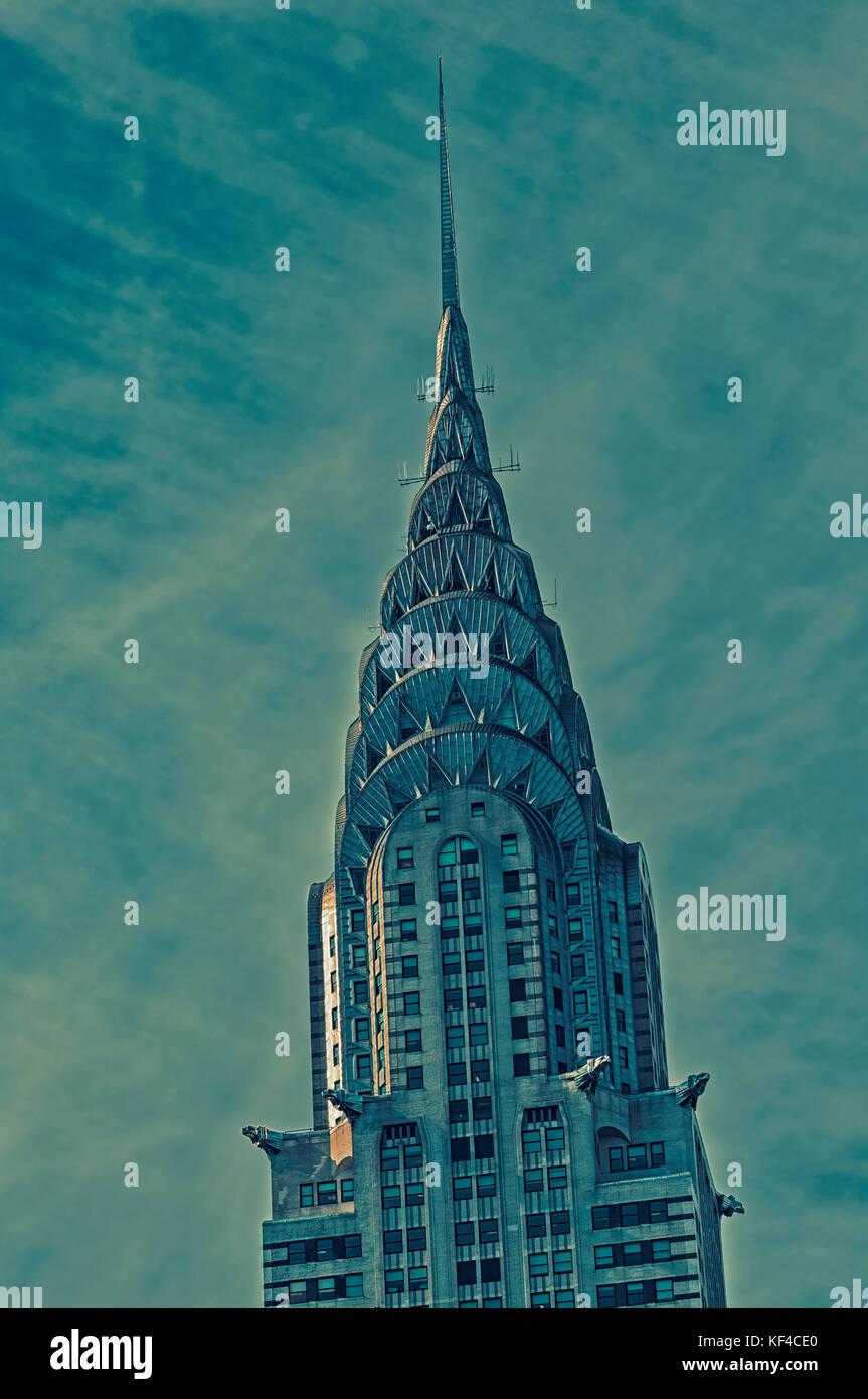 La città di new york, nello stato di new york, Stati Uniti d'America. il Chrysler building. uno stile art Immagini Stock