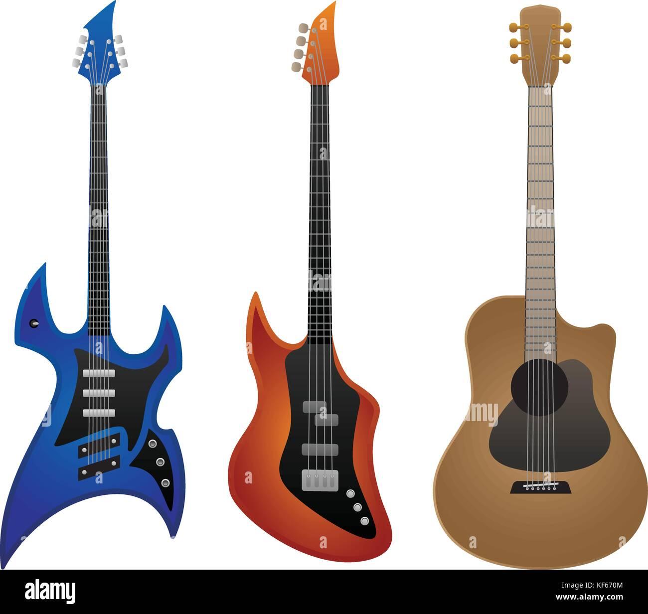 Electric rock chitarra, basso e chitarra acustica illustrazione vettoriale Immagini Stock