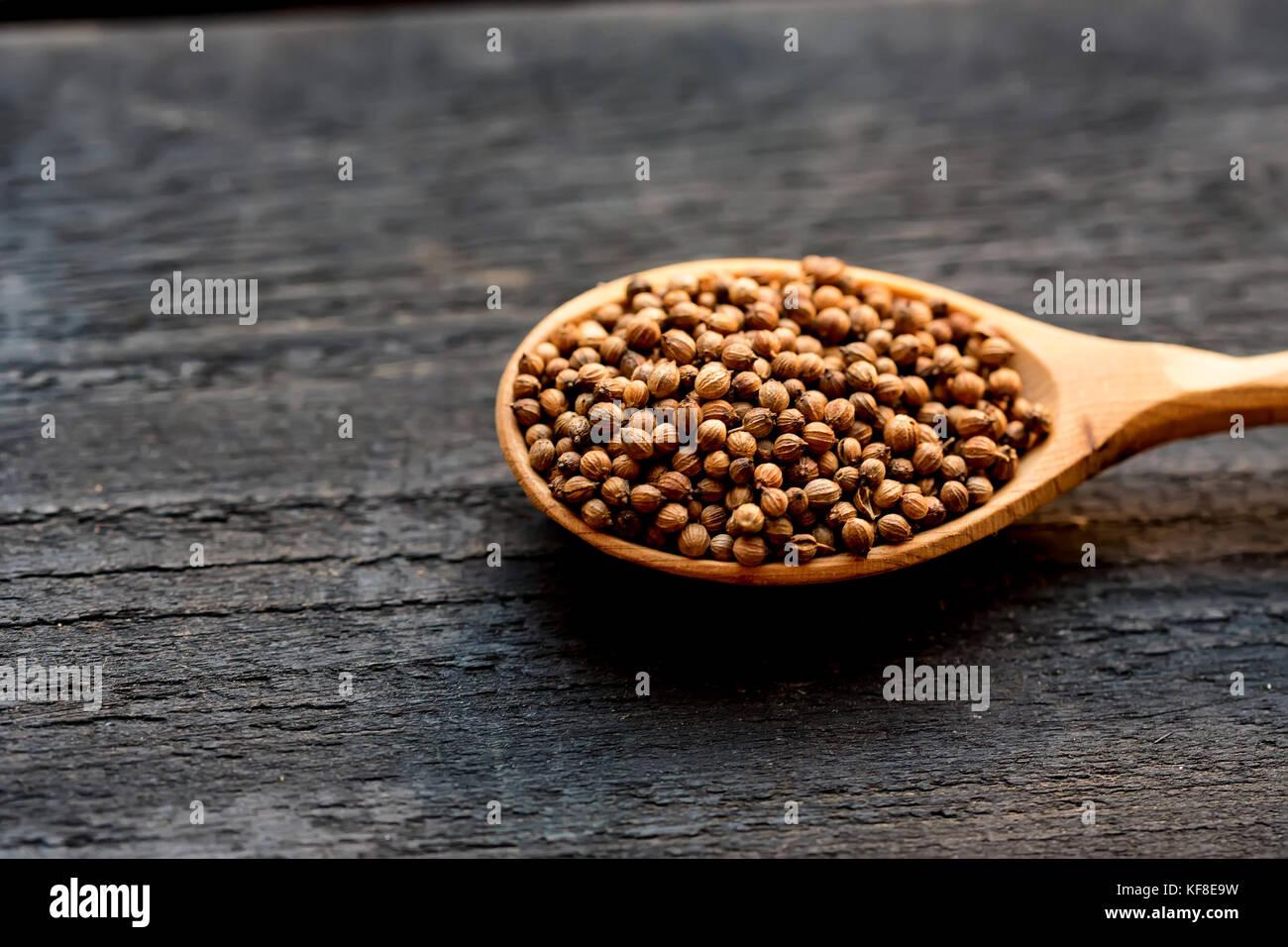 Semi di coriandolo in cucchiaio di legno sul tavolo di legno Immagini Stock