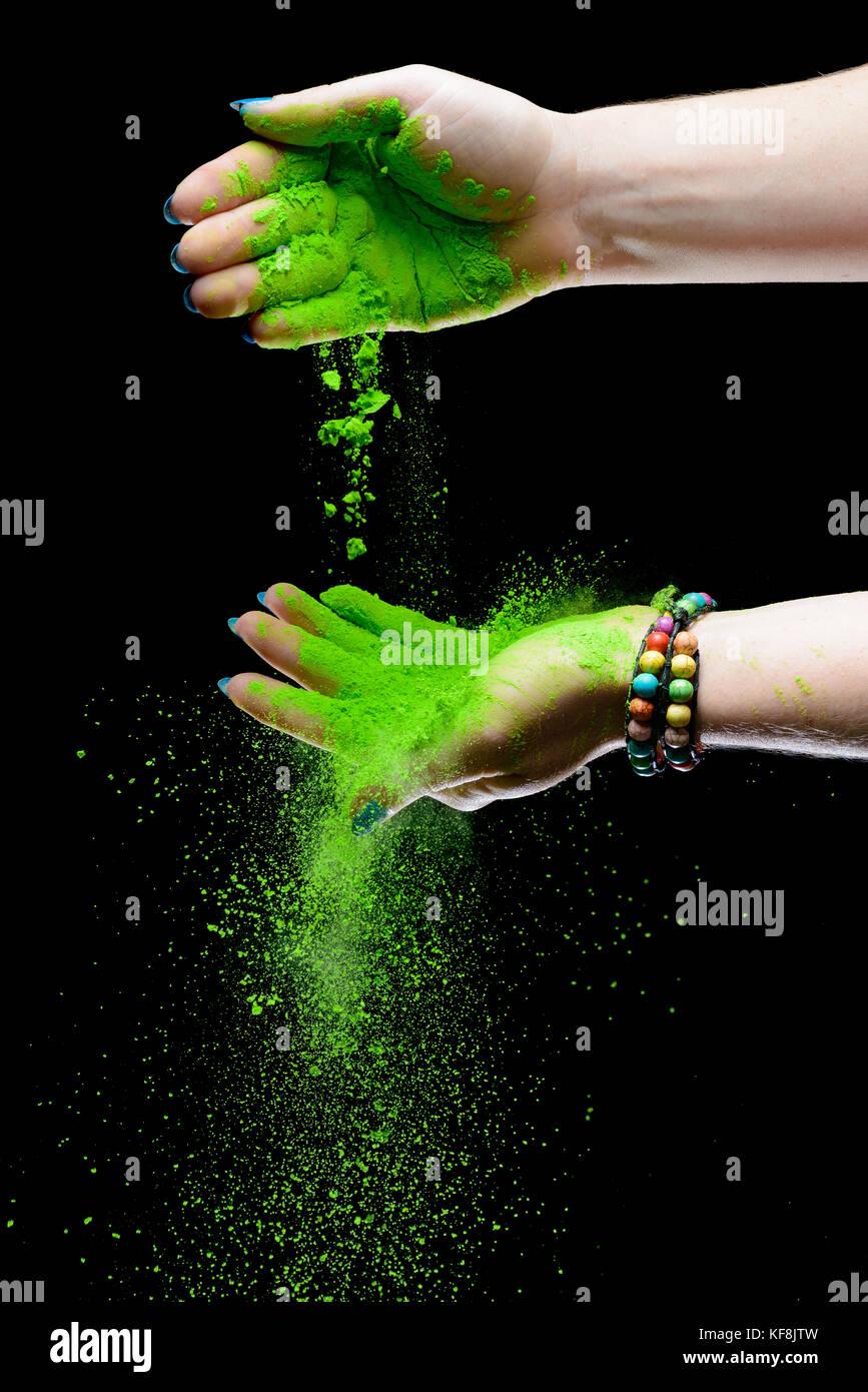 Holi dipinto di mani Immagini Stock
