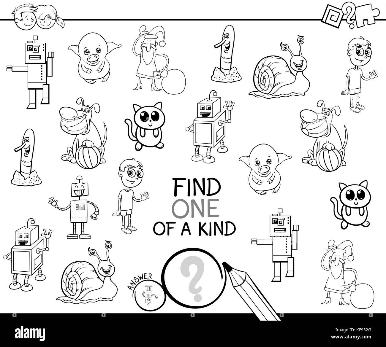 Bianco E Nero Cartoon Illustrazione Di Trovare Un Tipo Di Attività