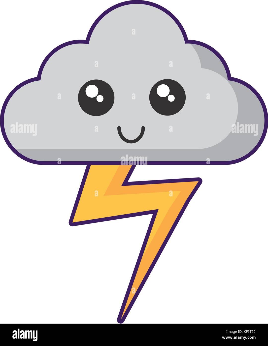 Kawaii cloud e icona di tuono su sfondo bianco illustrazione vettoriale Immagini Stock