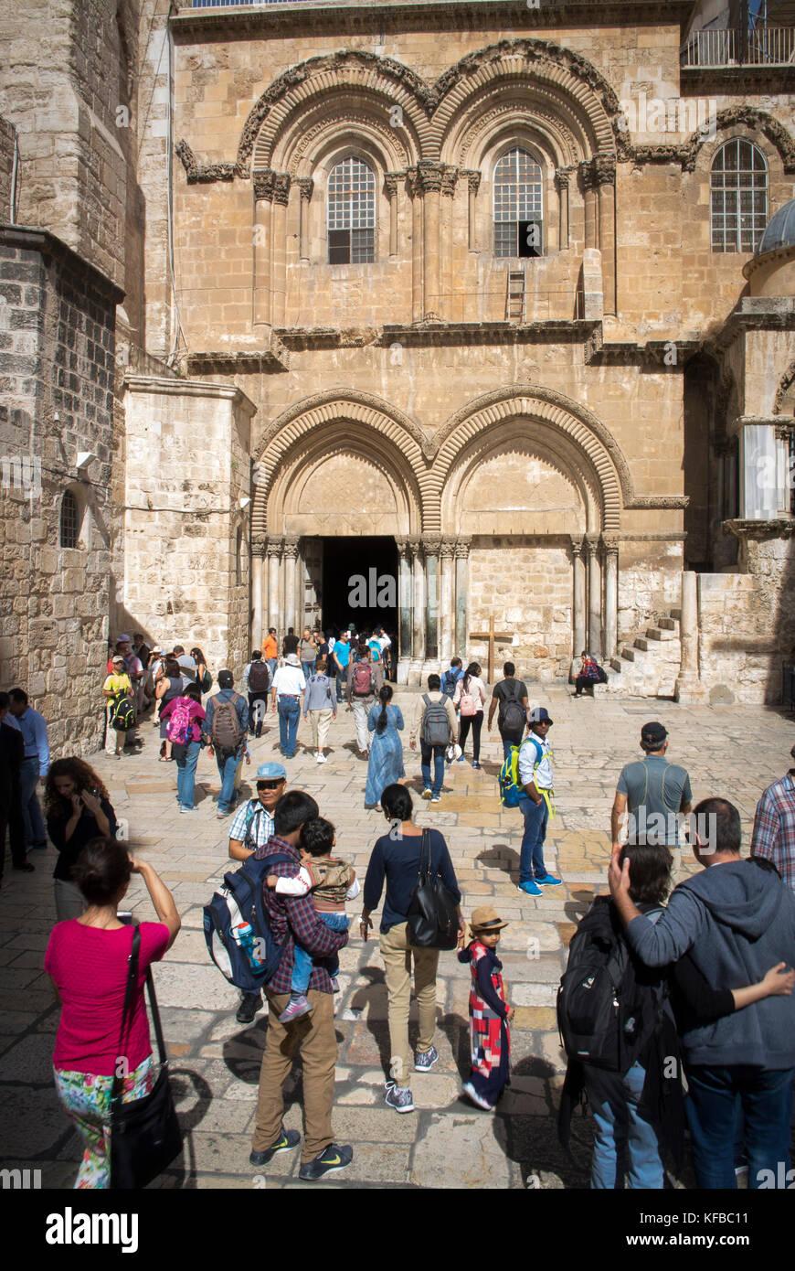 Ingresso alla chiesa del Santo Sepolcro, la Città Vecchia di Gerusalemme. Immagini Stock