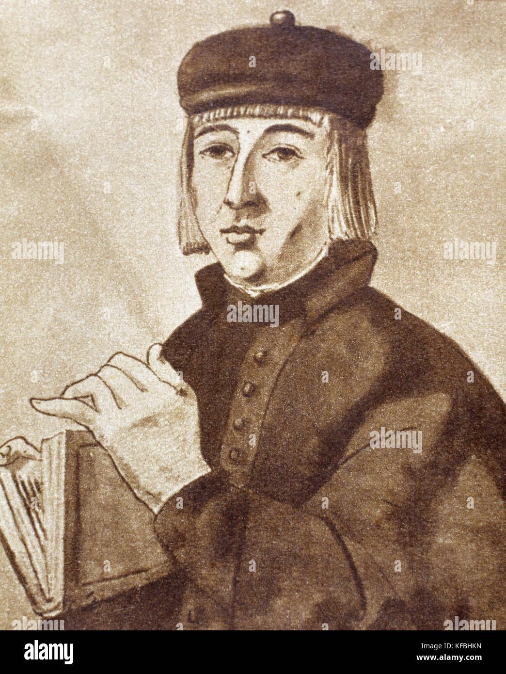 Juan Ruiz (ca.1283-ca. 1350), noto come arciprete di Hita (Arcipreste de Hita). medievale poeta spagnolo. ritratto. Immagini Stock