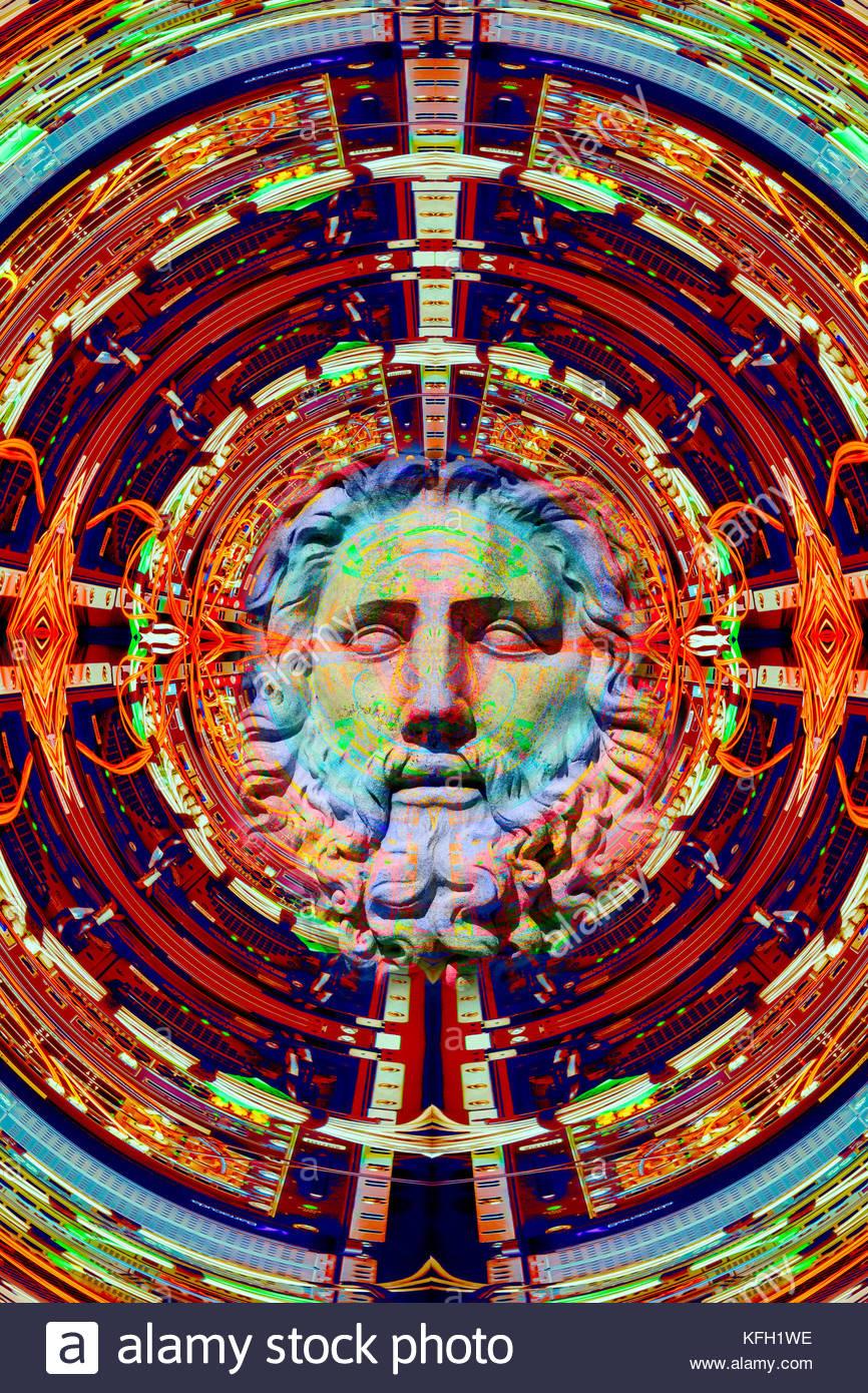 Intelligenza artificiale emergente da una rete di computer per la scienza e la religione dio la singolarità Immagini Stock