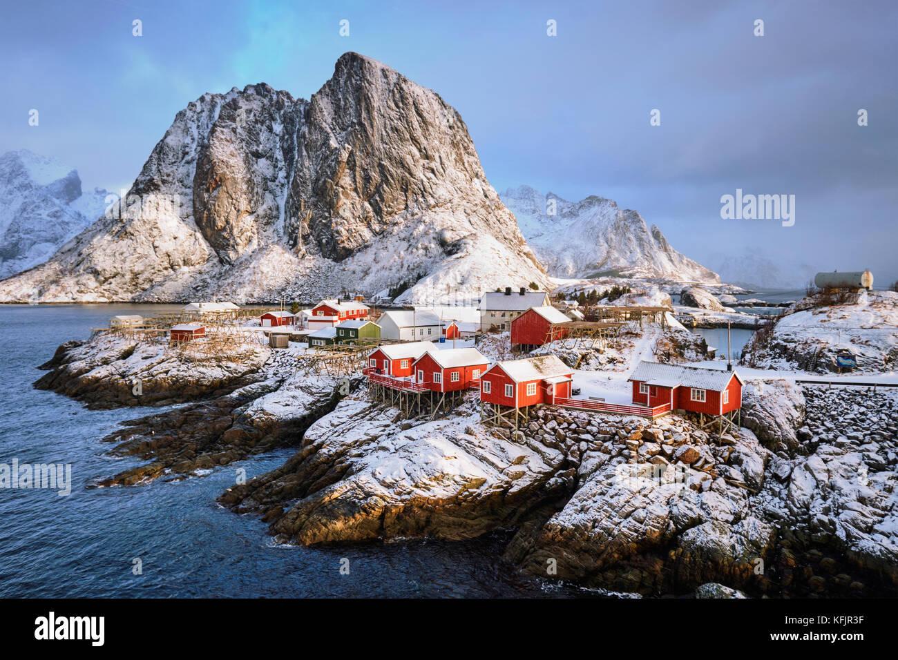 Hamnoy villaggio di pescatori sulle Isole Lofoten in Norvegia Immagini Stock