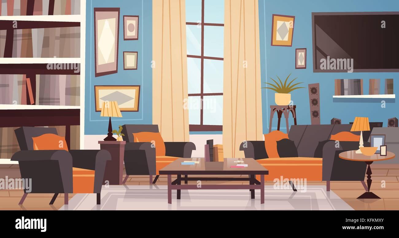 Accogliente soggiorno progettazione di interni con arredi ...