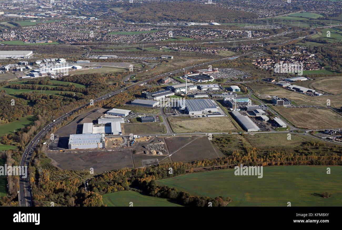 Vista aerea della fabbricazione avanzata Park, Catcliffe, Rotherham & Sheffield, Regno Unito Immagini Stock