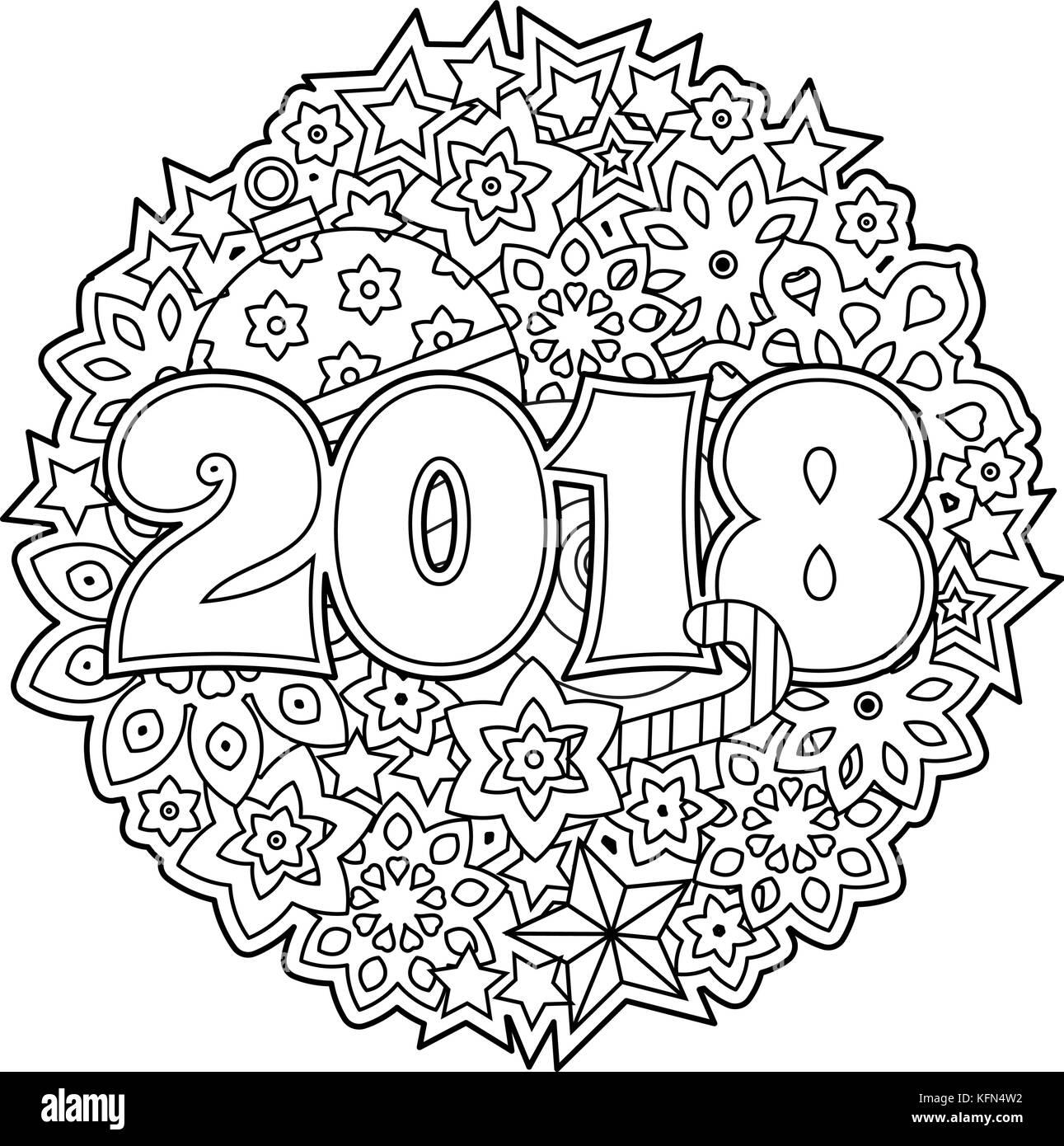 Anno Nuovo Congratulazioni Card Con I Numeri 2018 Su Vacanze Inverno