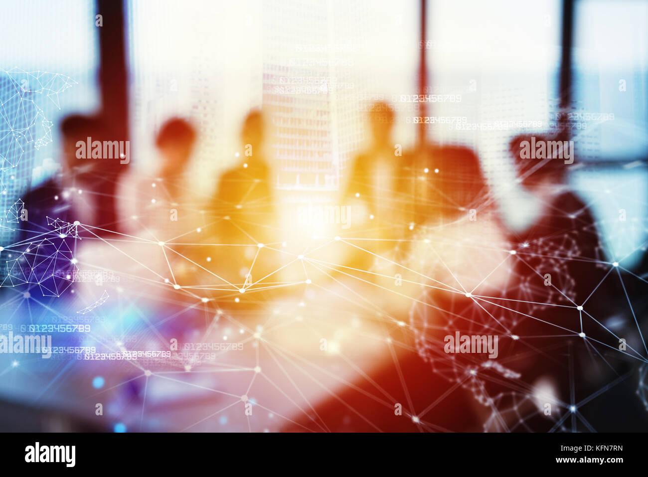 Silhouette di commercianti in ufficio con effetto di rete. concetto di partnership e il lavoro di squadra Immagini Stock