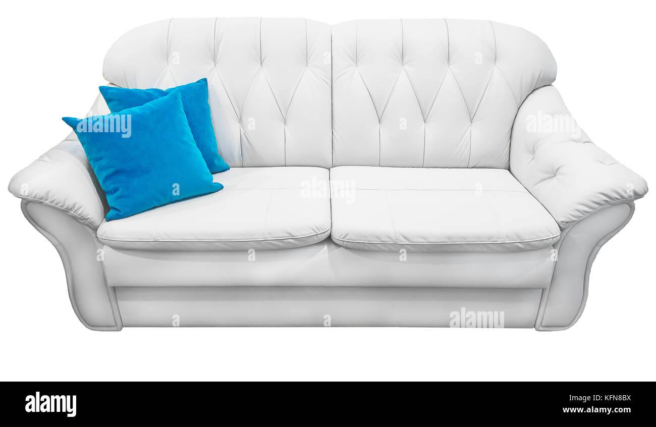 Divano In Pelle Blu.Eco Bianco Divano In Pelle Con Cuscini Blu Neve Soffice Bianco